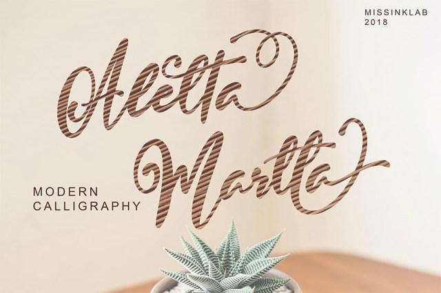 Phông chữ Aletta Martta với Nét chữ Thư pháp