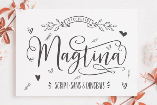 Phông chữ Magtina Script với Dấu gạch ngang