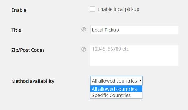 Local Pickup options