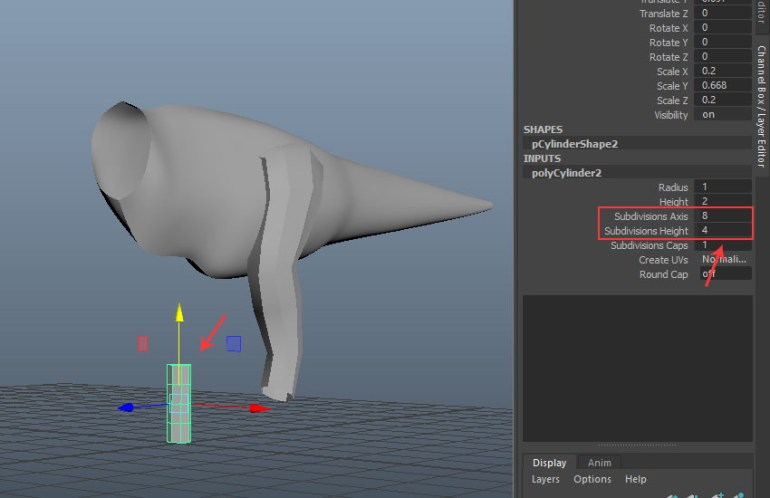 Create another cylinder polygon mesh