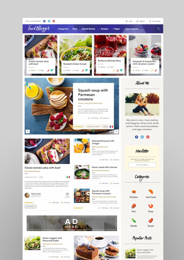 Food Blog - WordPress theme for personal food recipe blog