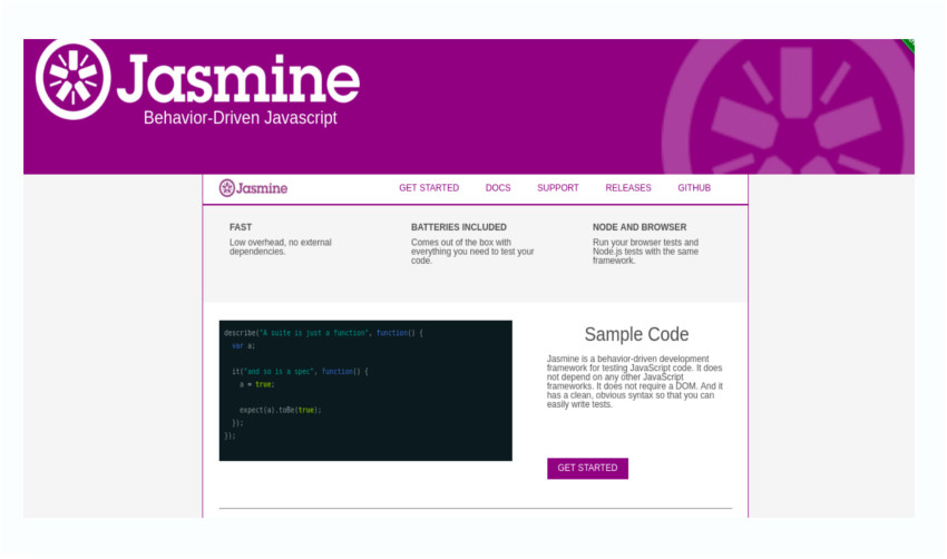Jasmine test runner and testing framework