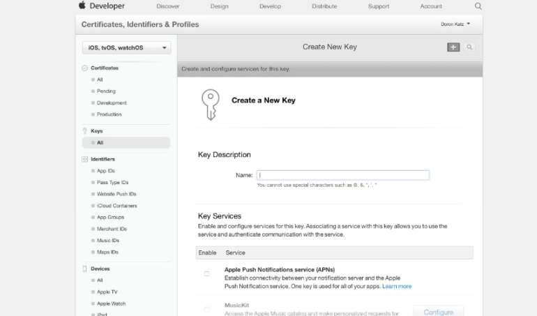 Create a new key in Apple Developer Portal