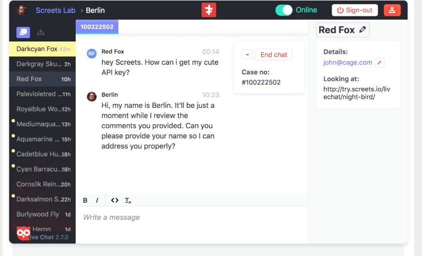Chat console for Live Chat plugin