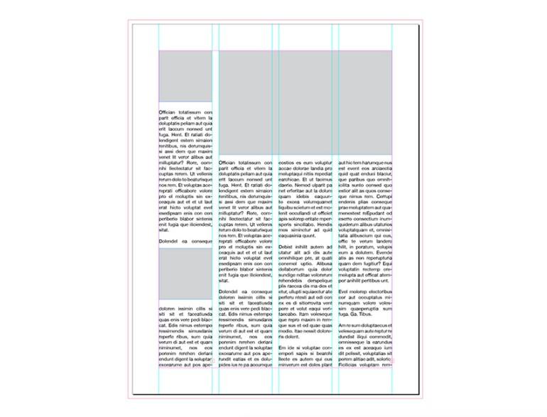 four columns magazine layout