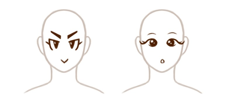 Eyes with straight lines and curved lines