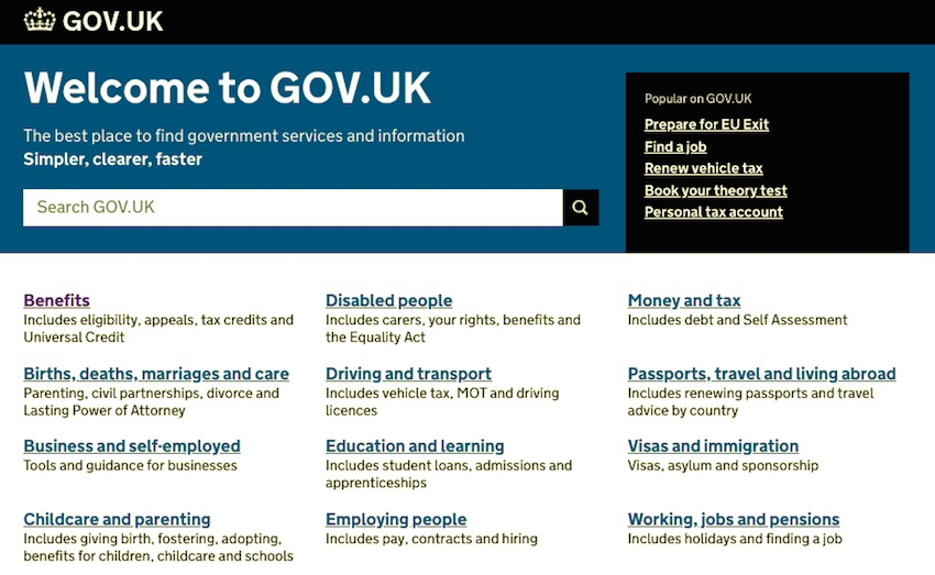 The UK government site - homepage is a page full of links