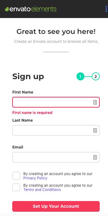 envato elements signup form - mobile