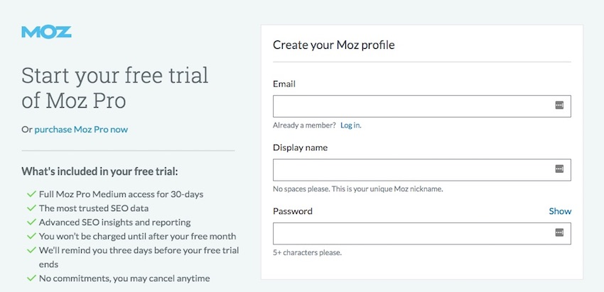 Mos signup form with 3 fields