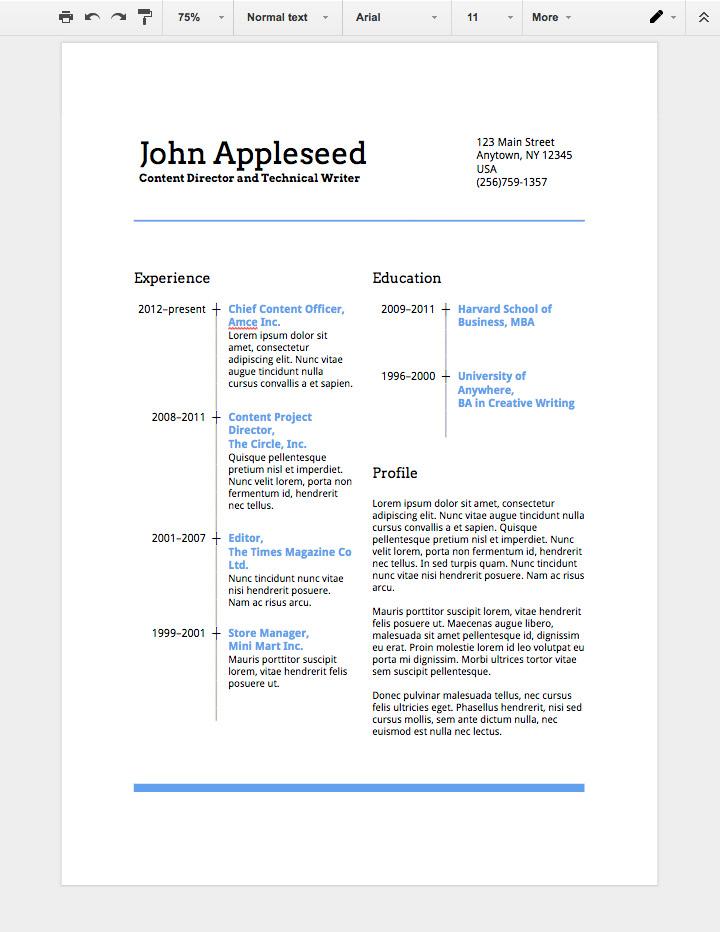 google docs how to save resume