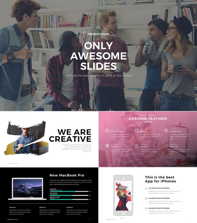 Eureka minimal PowerPoint template with modern colors