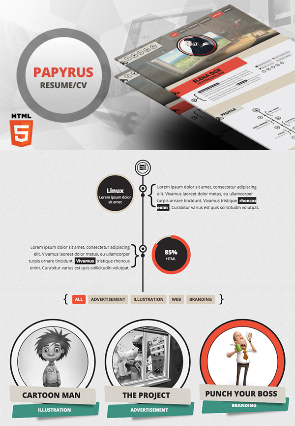Papyrus - Responsive Resume Template