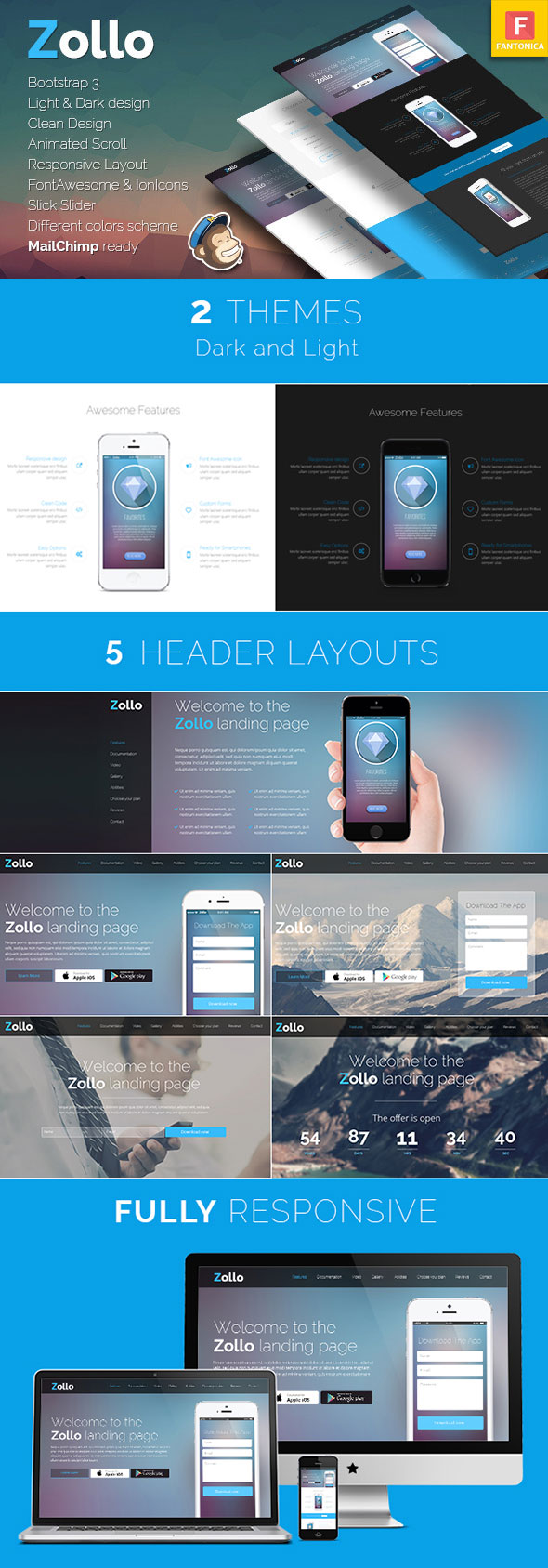 Zollo Bootstrap Responsive Landing Page Template