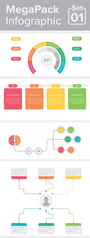 Modello di infografica MegaPack