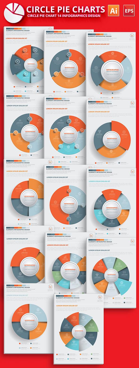 Modello di Infographic del grafico a torta del cerchio