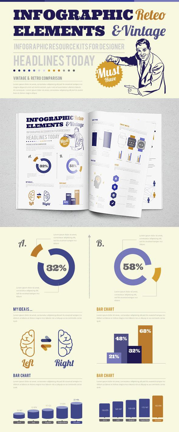 Modello di infografica stile vintage