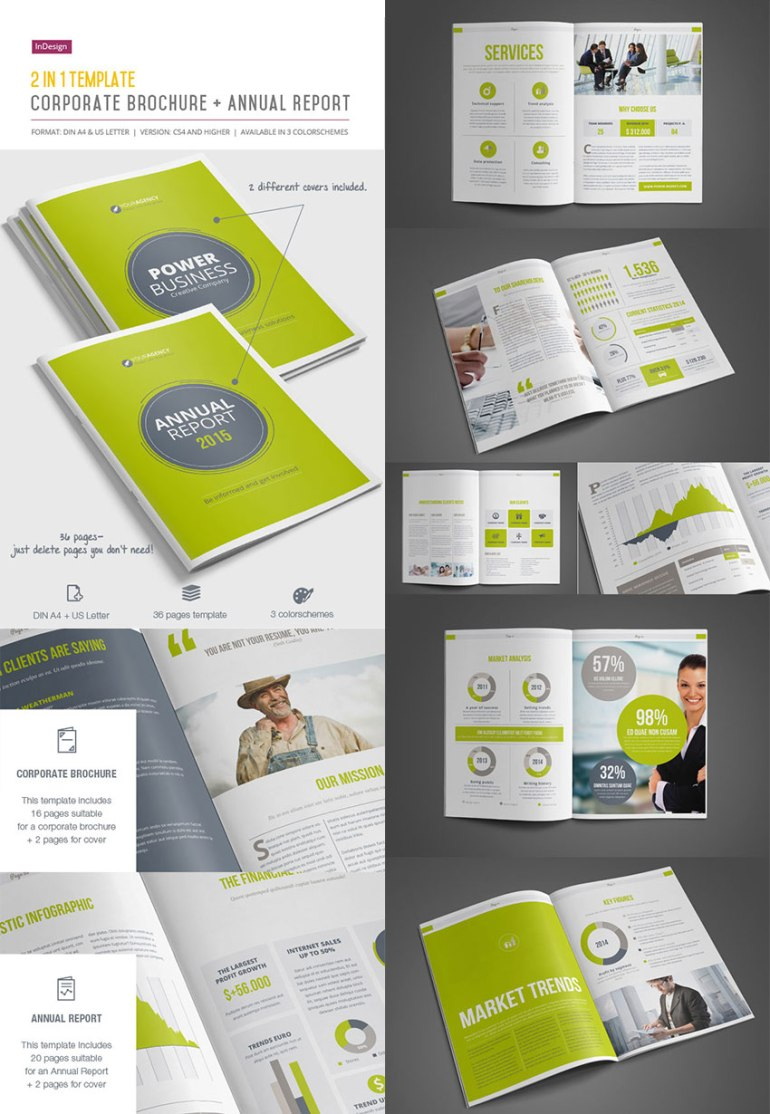 2-in-1 Corporate Brochure InDesign Annual Report