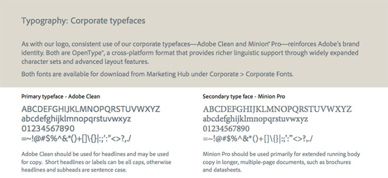 Adobe font used in their brand identity