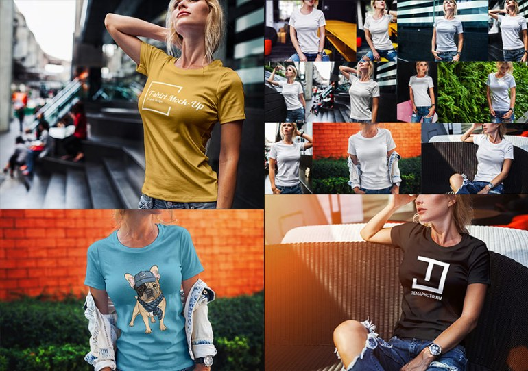 Authentic Female T-Shirt PSD Fashion Mock-Up