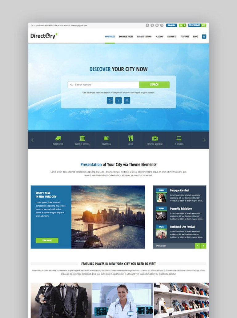 20 best wordpress directory themes to make business websites 2017 directory portal business wordpress listing template friedricerecipe Images