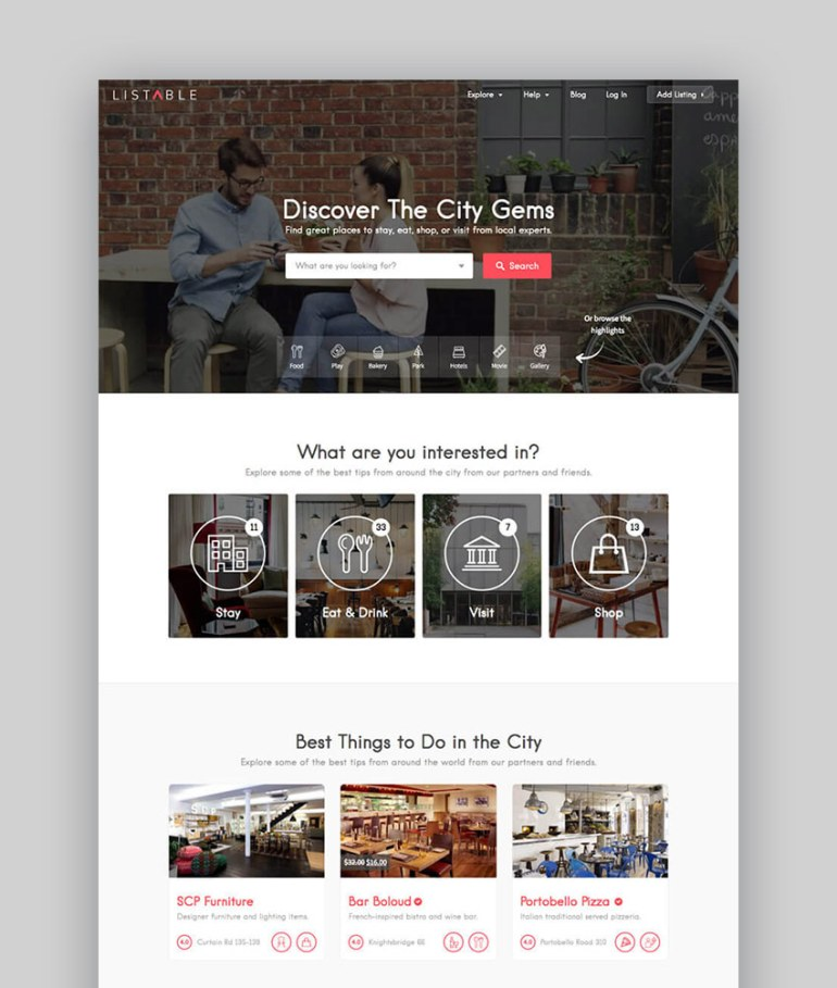 20 best wordpress directory themes to make business websites 2017 listable business directory wordpress listing theme fbccfo Choice Image