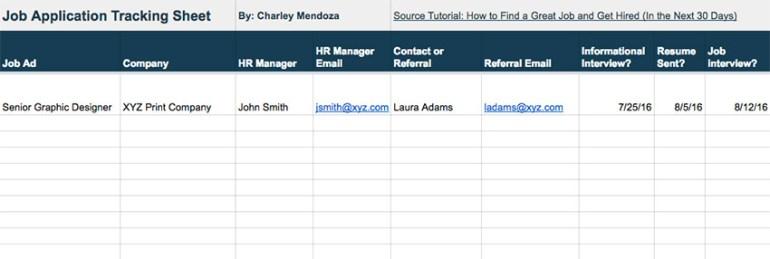 Job Application Tracking Sheet Download