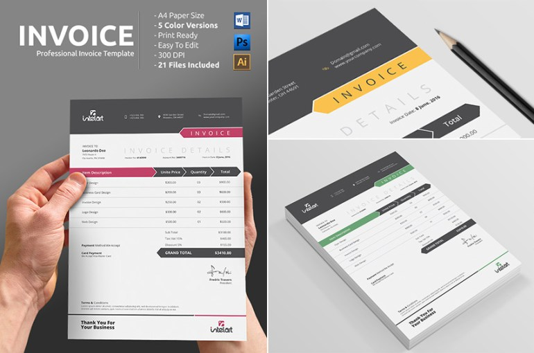 Simple Professional Invoice Template Word Print-Ready