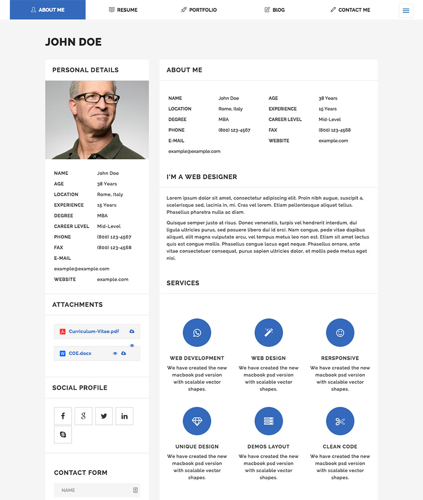 Moticv - Modern Vcard & Resume Builder Wordpress Theme