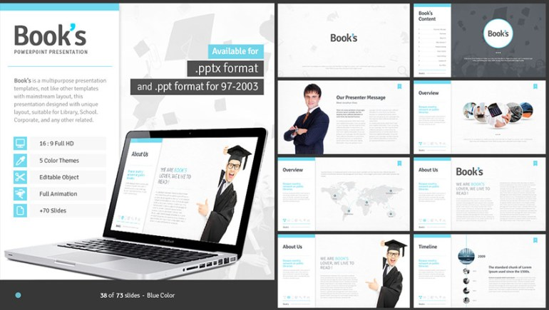 Books PowerPoint Template for School and Education Use