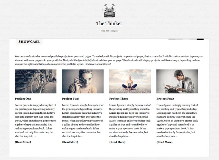 The Thinker WordPress theme writing showcase