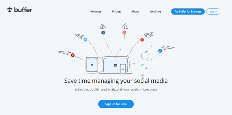 Buffer online social media management software for small business