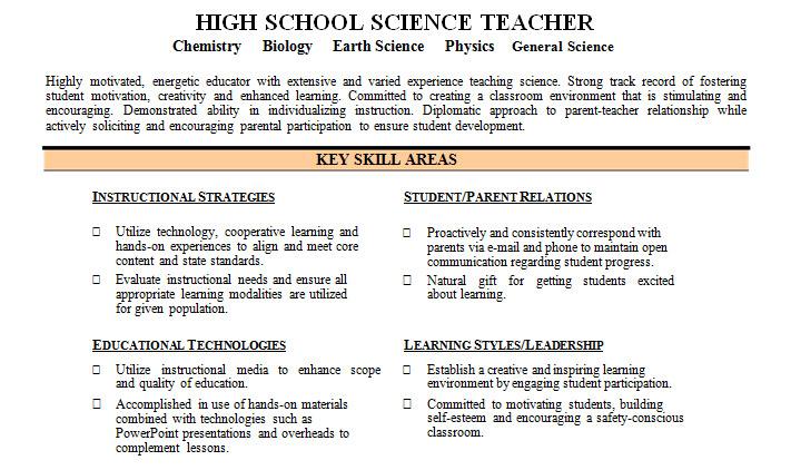 skill category resume examples