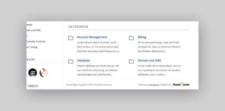 iKnowledge knowledge-base WordPress theme categories