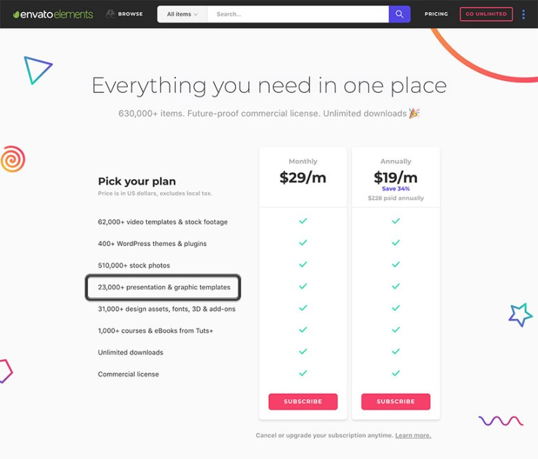 Envato Elements Pricing