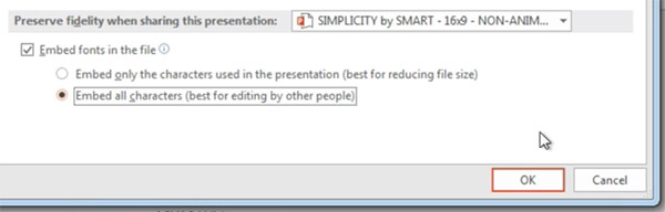 Embed all new font characters in PowerPoint