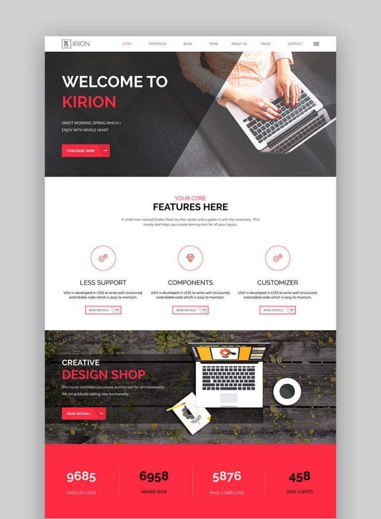 Kirion flat WordPress website design template
