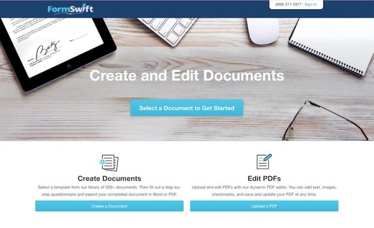 FormSwift PDF creator software