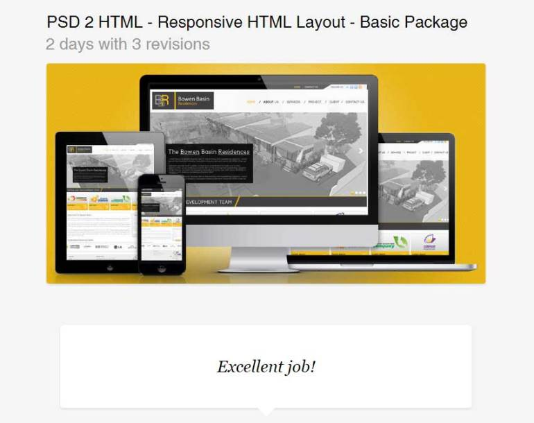 PSD 2 HTML - Responsive HTML Layout - Basic Package
