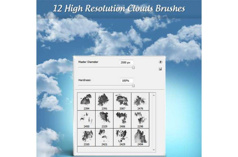 12 High Resolution Cloud Brushes