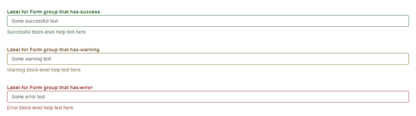 Label for Form-group that has success warning error
