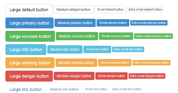 Button styles shown at different sizes