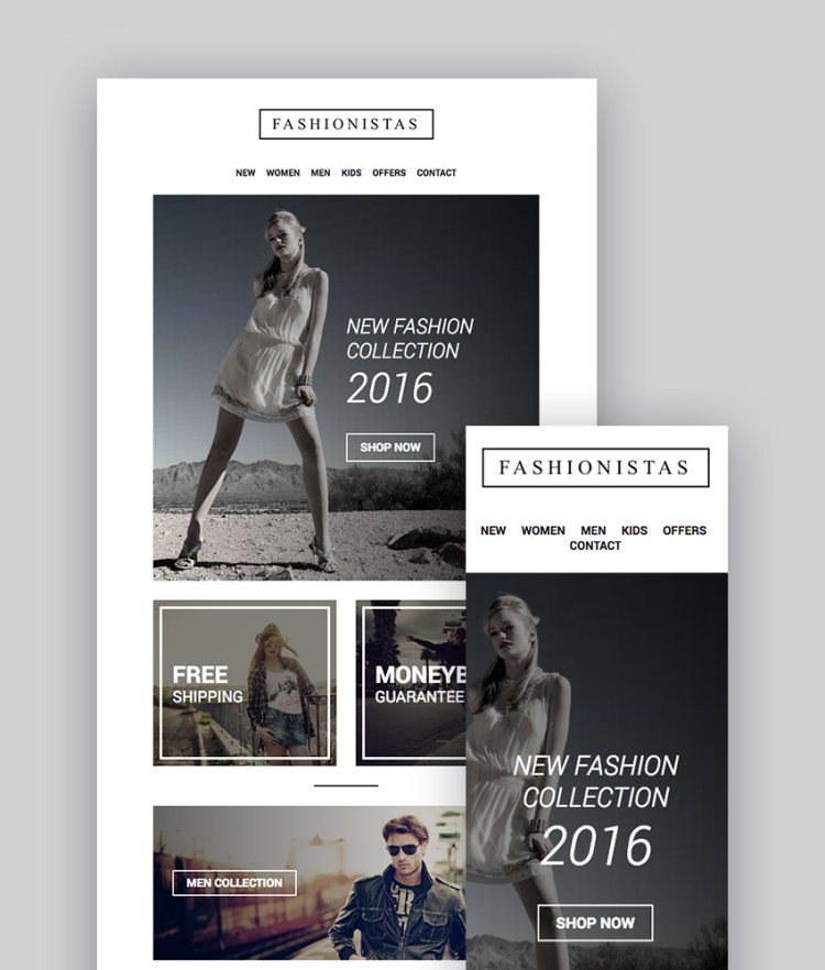 Fashion Ecommerce - Email reattivo con Mailchimp Editor StampReady Builder