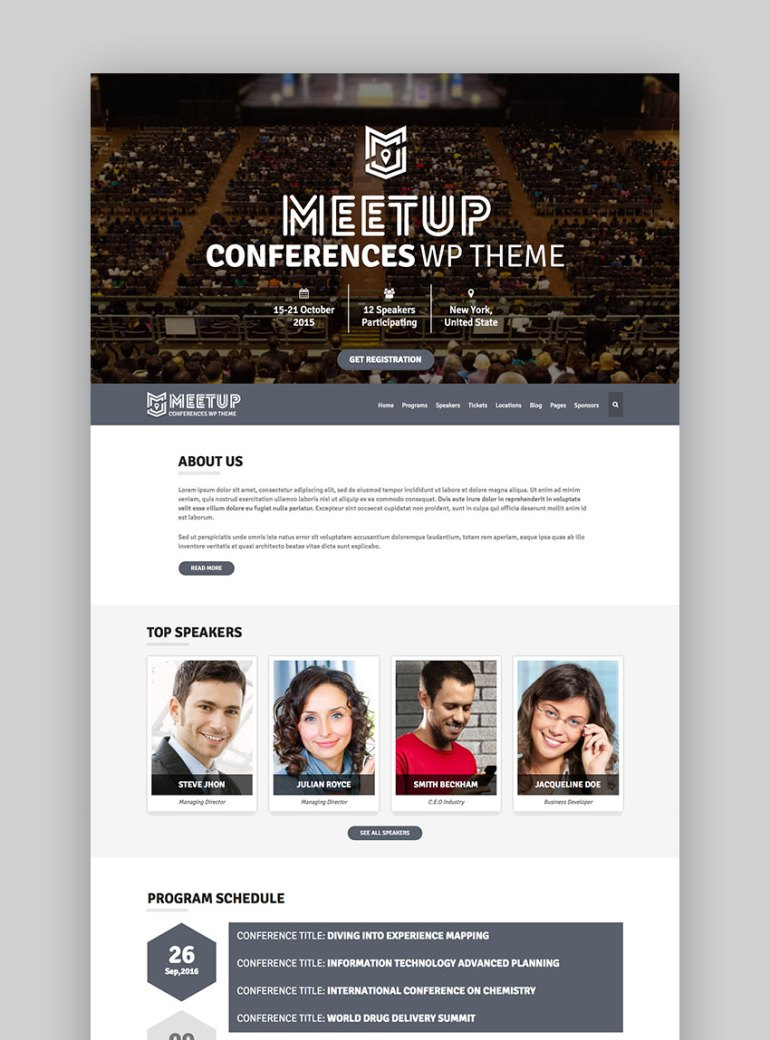 TheMeetup - Conference Event WordPress Template