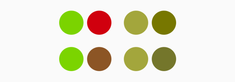 How color blind users perceive green brown and red