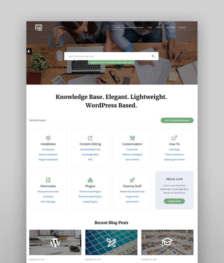 Lore - Simple and Elegant WordPress Wiki-Style Theme