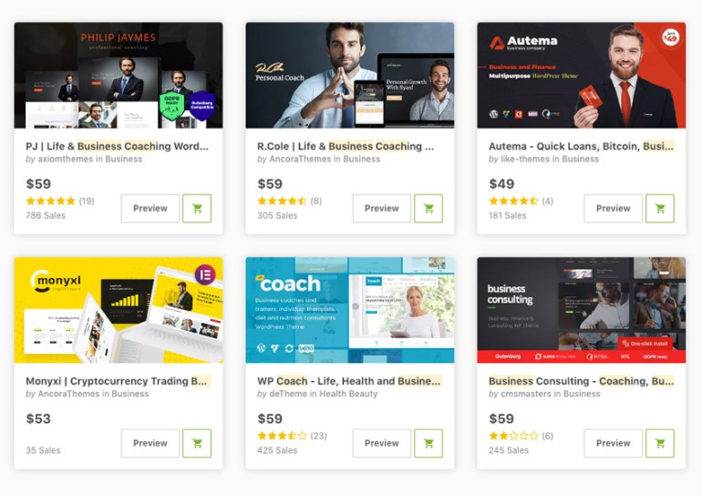 coaching and consulting WordPress themes