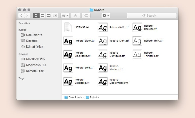 Contents of Roboto web font folder
