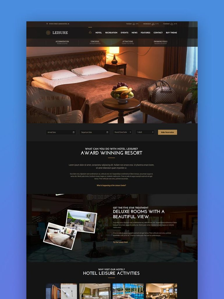 Leisure  Hotel WordPress Theme