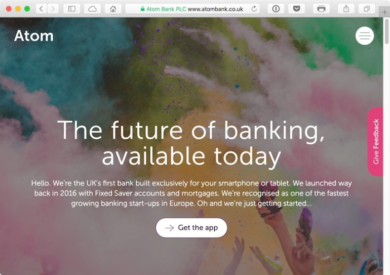 Atom Bank is the UKs first bank built purely for smartphone and tablet