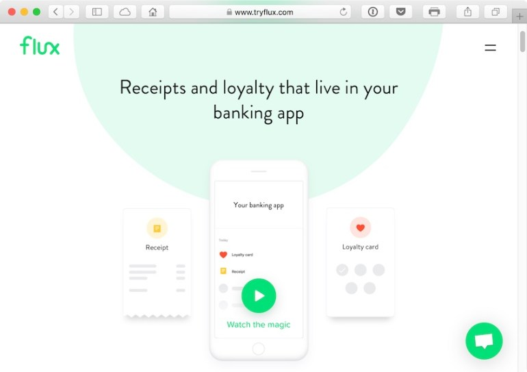 Flux automagically links receipts to the bank card as you pay
